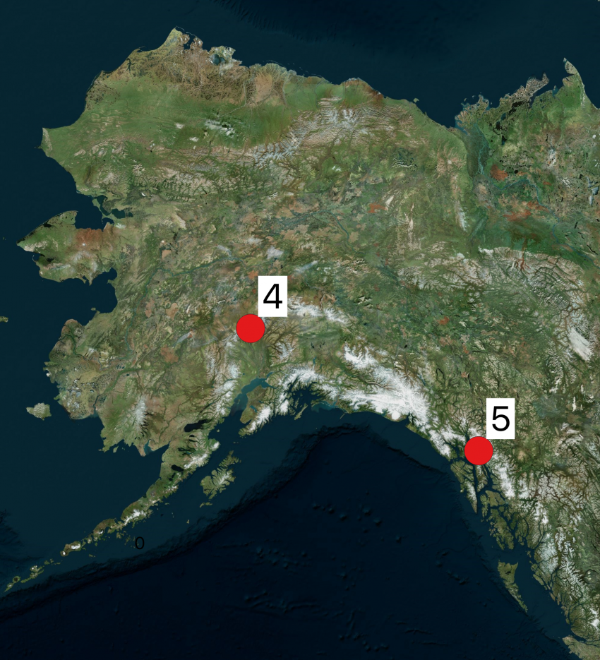 Map of Alaska showing 2019 Arctic field season locations. The numbers shown on the maps correspond to the project numbers in the text.