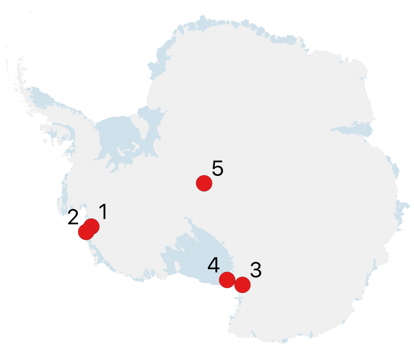Map of Antarctica showing 2019-2020 Antarctic field season locations. The numbers shown on the maps correspond to the project numbers in the text.