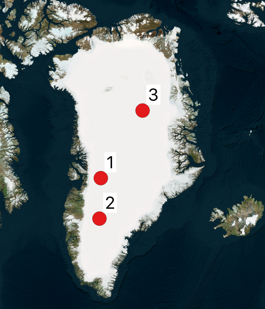 Map of Greenland showing 2019 Arctic field season locations. The numbers shown on the maps correspond to the project numbers in the text.
