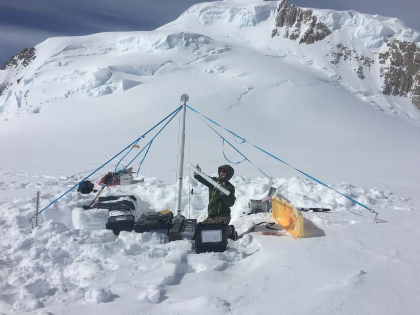 Researchers use the Stampfli Drill to collect a 50-meter long core from the summit plateau of Mount Hunter, Alaska