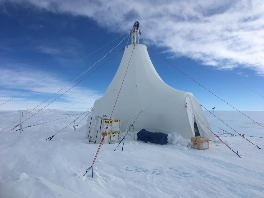 The drill tent for the BID-Deep system at Allan Hills, Antarctica, during the 2019/20 field season