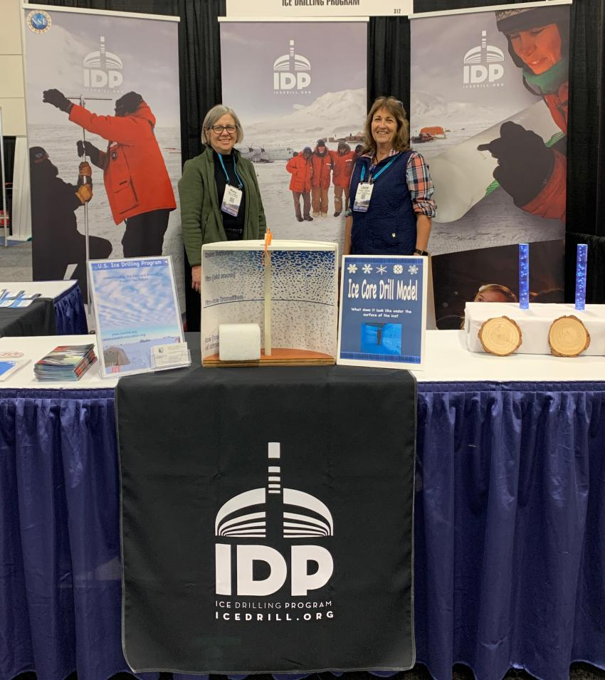 Mary Albert and Louise Huffman at the IDP AGU booth.