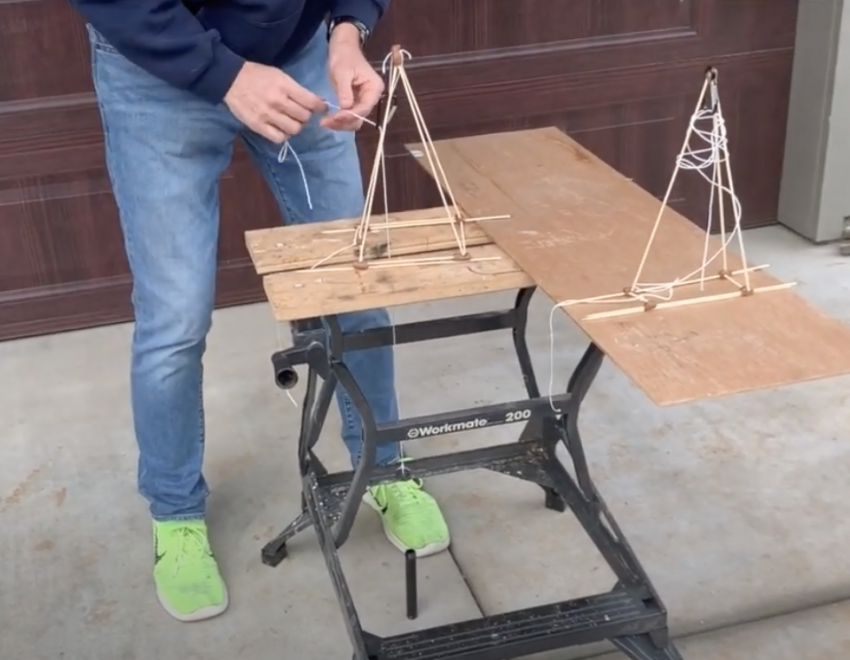 Bill Grosser demonstrates creating a model drill rig in the teacher video for the Engineering Challenge: Designing a Portable Drilling Rig