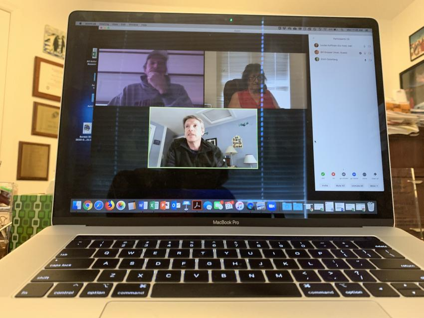 Bill Grosser (top left), Louise Huffman (top right), and Erich Osterberg (bottom) discuss virtual field trip options for the 2020 SOI workshop via a Zoom meeting